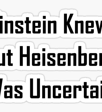 Einstein Knew, But Heisenberg Was Uncertain Sticker