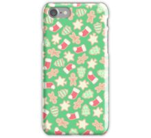 Christmas Cookies Pattern Design (Green) iPhone Case/Skin