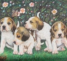 Dog Art - Puppies and Roses by AlessandraArt