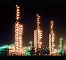 Grangemouth refinery at night by bashta