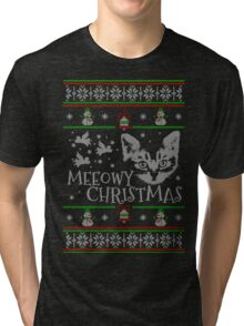 Meeowy Christmas Cat American Shorthair Ugly Sweater Christmas Tri-blend T-Shirt