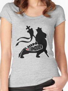 LION CONQUER BLACK Women's Fitted Scoop T-Shirt