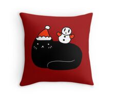 Black Cat and Snowman Throw Pillow