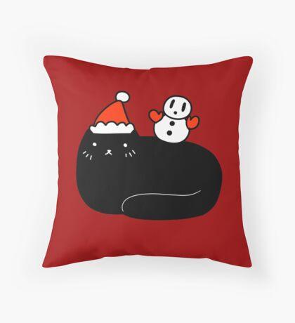 Black Cat and Snowman Throw Pillow