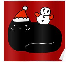 Black Cat and Snowman Poster