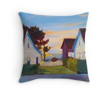 Cottages by the Sea Painting Throw Pillow