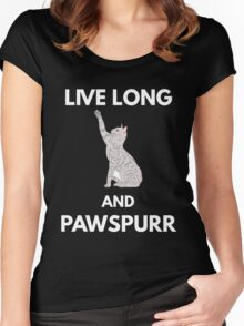 Live Long And Pawspurr Women's Fitted Scoop T-Shirt