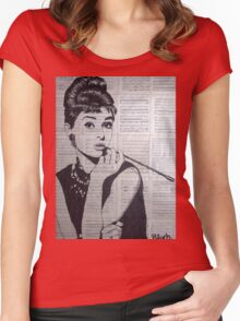 old book drawing famous people Audrey Women's Fitted Scoop T-Shirt
