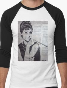 old book drawing famous people Audrey Men's Baseball ¾ T-Shirt