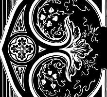 Old print ornament letter E by Krzyzanowski Art
