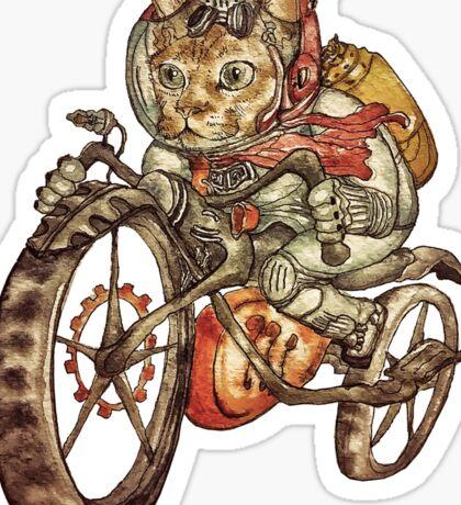 Berserk Steampunk Motorcycle Cat Sticker