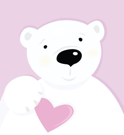 Cute little Polar bear with Heart : pink and white Sticker