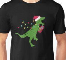 Derpy T-Rex dinosaur Christmas lights hat present Unisex T-Shirt