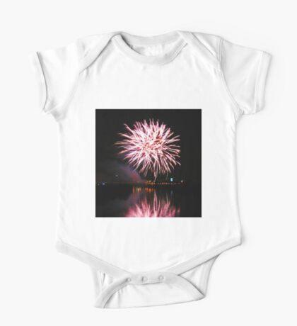 Purple fireworks over the river One Piece - Short Sleeve