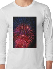 Red and Blue Fireworks Long Sleeve T-Shirt