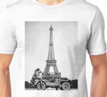 American Soldiers at the Eiffel Tower with Frech Flag Flying Unisex T-Shirt