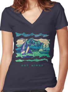 SAIL BOATS SAILING OCEAN, GOT WIND? FUNNY QUOTE  Women's Fitted V-Neck T-Shirt