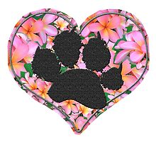 Paw Print in Heart with Flowers by amanda metalcat