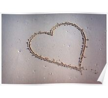 Heart Drawn in the Summer Sand Poster