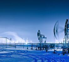 Winter night panoramic oil pumpjack. by bashta
