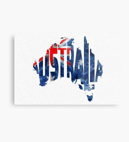 Australia Typographic World Map Metal Print