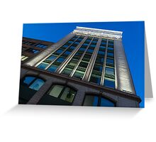 City Night Walks – White, Green and Blue Facade Greeting Card
