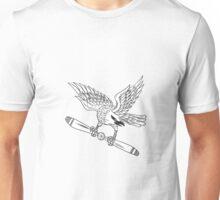 Shrike Clutching Propeller Blade Black and White Drawing Unisex T-Shirt