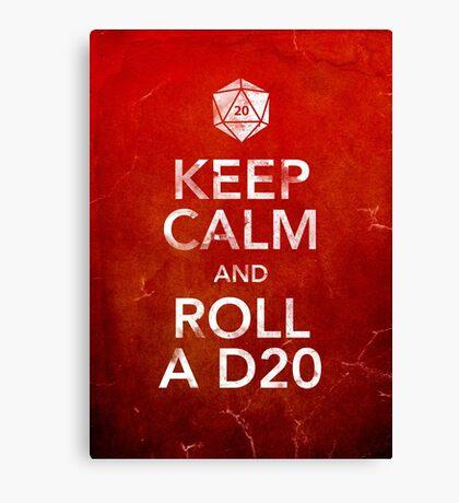 Keep Calm and Roll a D20 (Print) Canvas Print