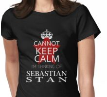 CANNOT KEEP CALM I'M THINKING OF SEBASTIAN STAN ON T-SHIRT Womens Fitted T-Shirt