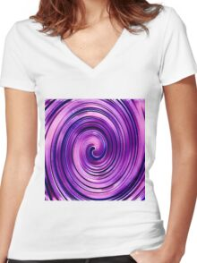 Purple Icing Swirl Women's Fitted V-Neck T-Shirt