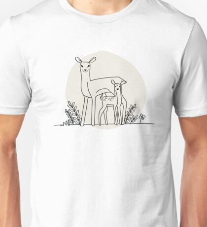 A doe and her fawn (also available in blue) Unisex T-Shirt