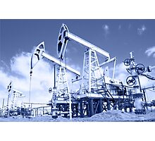 Pump jack on a oilfield. Toned. Photographic Print