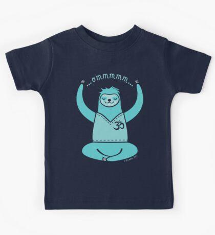 Om Yoga Sloth - blue Kids Tee