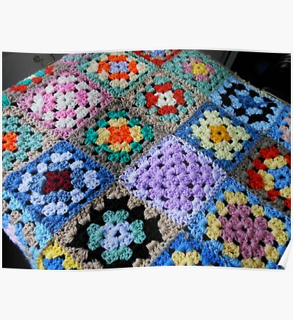 Multicoloured Knitted Cot Blanket Poster