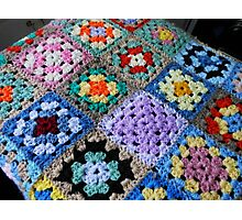 Multicoloured Knitted Cot Blanket Photographic Print