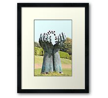 Hands and molecules Framed Print