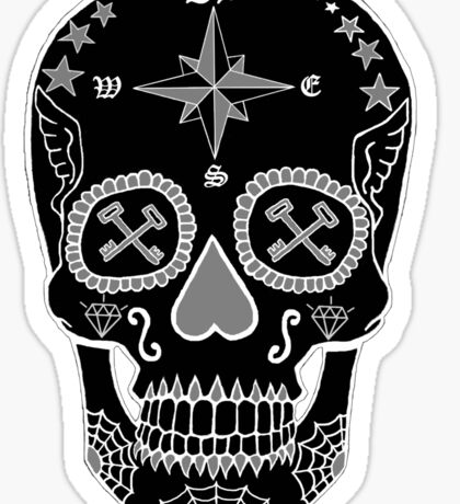 Navy LS - Day of the Dead Skull Black and White Negative Sticker