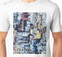 red yellow blue pink drawing and painting abstract background Unisex T-Shirt