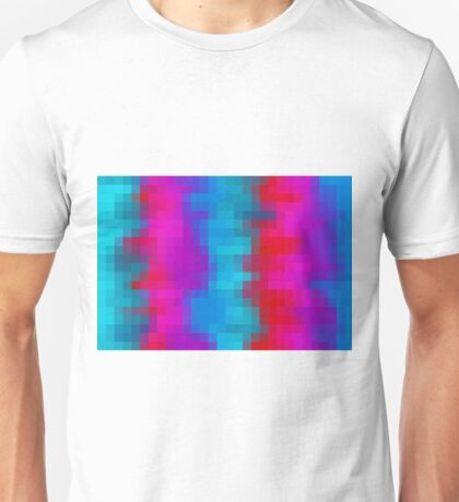 pink purple blue and green pixel abstract background Unisex T-Shirt