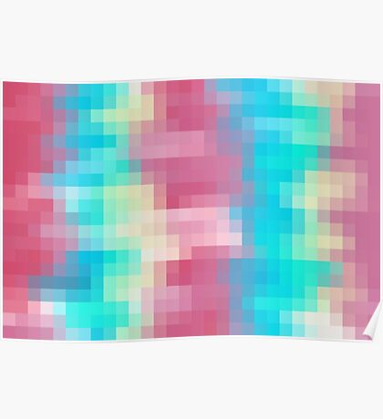 blue yellow and pink pixel abstract background Poster