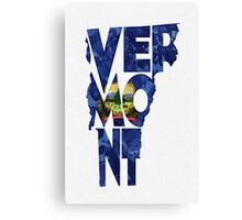 Vermont Typographic Map Flag Canvas Print