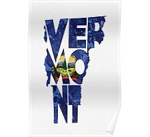Vermont Typographic Map Flag Poster