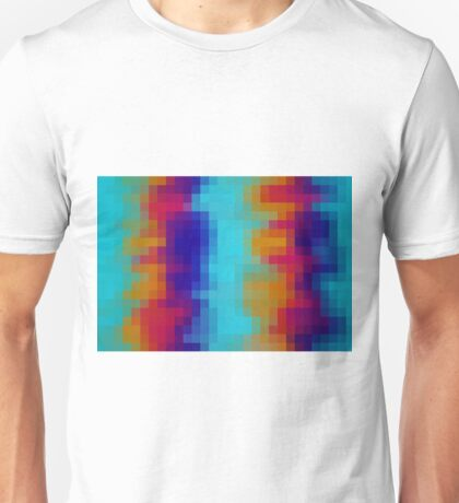 red orange blue green pixel abstract background Unisex T-Shirt