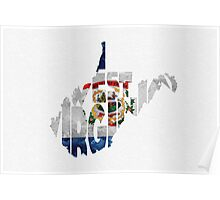 West Virginia Typographic Map Flag Poster