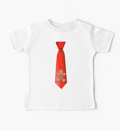 Christmas Tie with Gingerbread Man Baby Tee