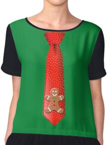 Christmas Tie with Gingerbread Man Chiffon Top