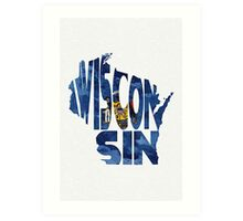 Wisconsin Typographic Map Flag Art Print
