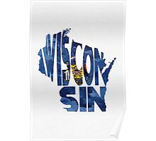 Wisconsin Typographic Map Flag Poster