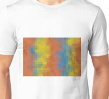 orange blue and yellow pixel abstract background Unisex T-Shirt