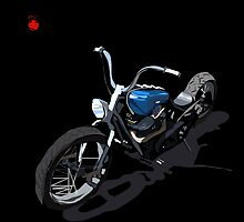 Blue Chopper on Black by Don Bailey